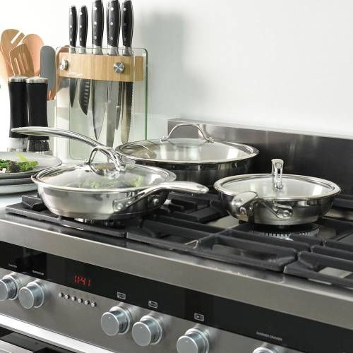 Professional Stainless Steel Frying Pan with Lid Set Uncoated 3 Piece