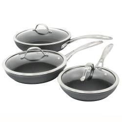 Professional Anodised Frying Pan with Lid Set - 3 Piece