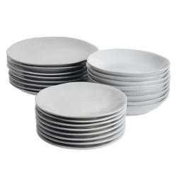 Malmo Dove Grey Stoneware Dinner Set with Pasta Bowls - Two x 12 Piece - 8 Settings
