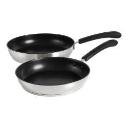 Gourmet Stainless Steel Frying Pan Set - 24 and 28cm