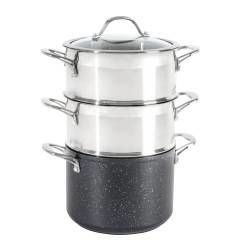 ProCook Professional Granite Steamer Set - 20cm / 2 tier