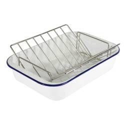 ProCook Enamel Bakeware Roasting Tin & Rack - 37cm x 24cm x 7.5cm