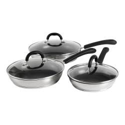 Gourmet Stainless Steel Frying Pan with Lid Set - 3 Piece