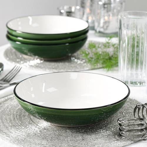 Coastal Stoneware Green Pasta Bowl Set of 4 - 20cm
