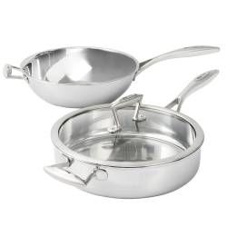 Elite Tri-ply Wok and Saute Pan Set - 2 Piece Uncoated
