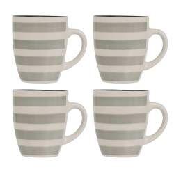 Coastal Stoneware Grey Mug - Set of 4 - 380ml
