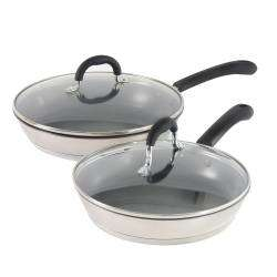 ProCook Gourmet Steel Frying Pan with Lid Set - 24cm and 28cm