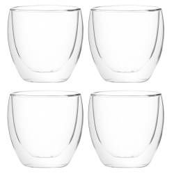 ProCook Double Walled Glass Cup Set of 4 - 250ml Handleless