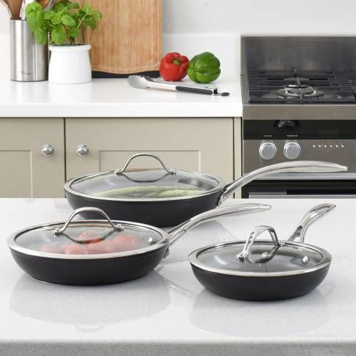 Professional Ceramic Frying Pan with Lid Set 3 Piece
