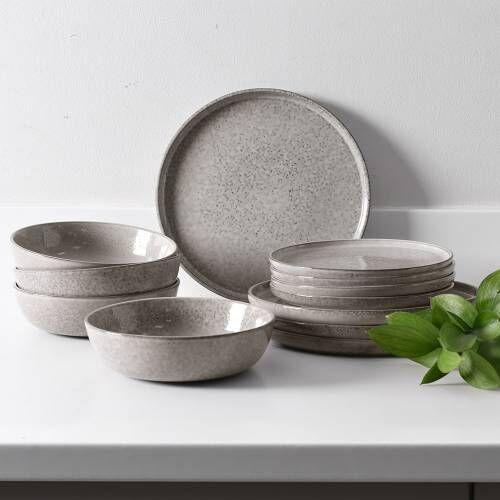 Oslo Rim Stoneware Dinner Set with Pasta Bowls 12 Piece - 4 Settings