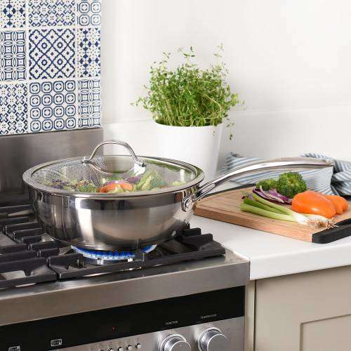 Professional Stainless Steel Sauteuse Pan & Lid Uncoated 28cm / 4.6L