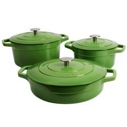 ProCook Cast Iron Casserole Set - 3 Piece Graduated Green