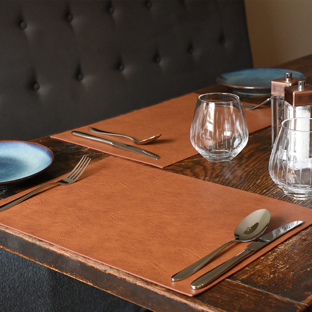 Rectangular Placemats Set Of 4 Brown Faux Leather Placemats Coasters From Procook