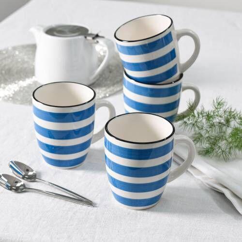 Coastal Stoneware Blue Mug Set of 4 - 360ml